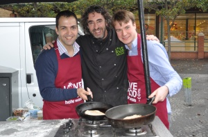 Love Food Hate Waste Ready Steady Cook with Bassam Mahfouz, Richard Fox and Ealing Gazette's Michael Russell