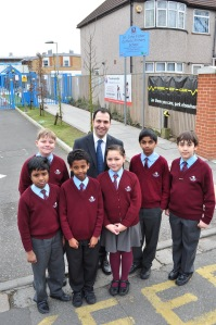 Cllr Bassam Mahfouz at St John Fisher Primary, Perivale as part of Ealing Council's Zig-Zag campaign