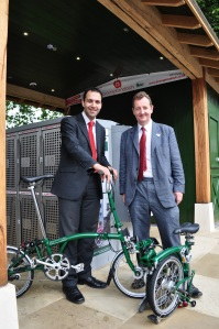 Ealing Cycle Hub Cllr Bassam Mahfouz with Julian Bell and new Brompton bike for hire