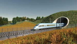 Illustration of a HS2 train exiting a tunnel