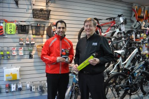 Cllr Bassam Mahfouz visits an Ealing cycle shop to see what residents could purchase with their vouchers