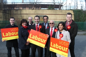 Cllr Bassam Mahfouz, Onkar Sahota AM, Virendra Sharma MP and Hanwell Labour Councillors celebrating delivery of their promise to re-open the southern entrance at Hanwell Station