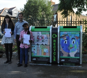 Cllr Bassam Mahfouz with competition winners and their winning designs in Elthorne Park