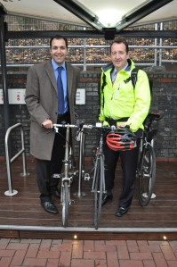 Cllrs Bassam Mahfouz and Julian Bell opening the borough's 2nd bike hub, at North Acton