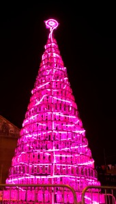 CNN's Top 12 Christmas Tree makes a comeback in Southall Square with a pink facelift