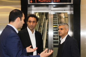 Labour Mayoral candidate Sadiq Khan MP (right) with Onkar Sahota AM speaking to Cllr Bassam Mahfouz about the new incline lift at Greenford Station