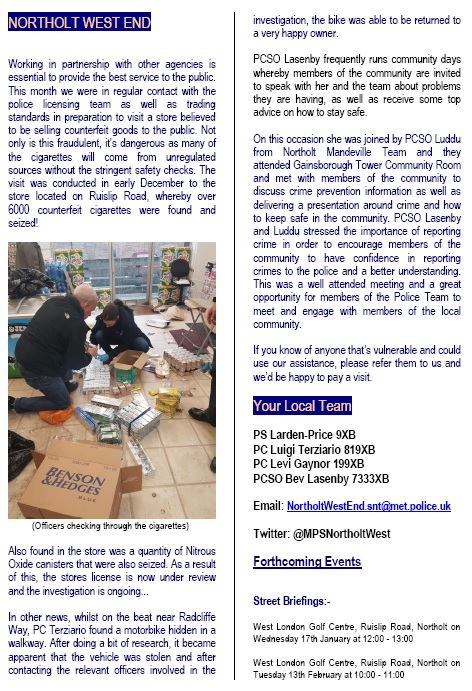 Northolt West End Jan 2018 Newsletter